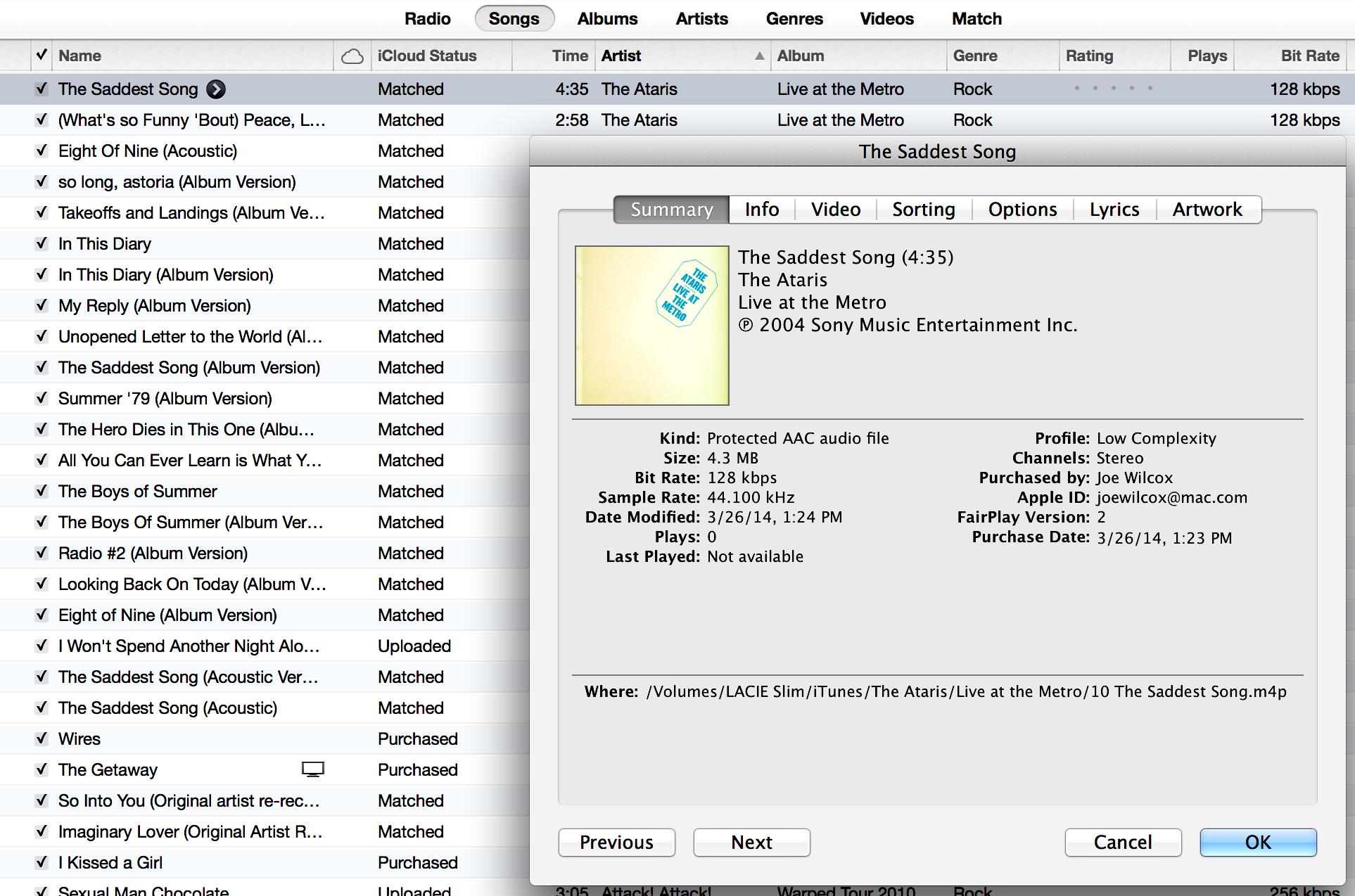 iTunes Ataris 128Kbps