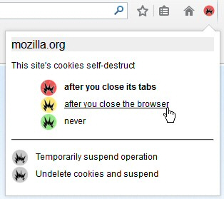 Self-Destructing Cookies for Firefox