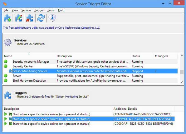 Service Trigger Editor