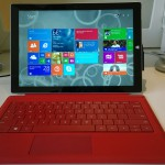 Surface Pro 3 with red Type Cover keyboard