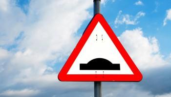 Speed Bump Sky Warning Sign