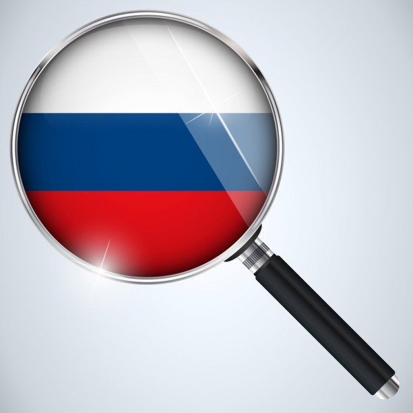 Russia flag magnifier