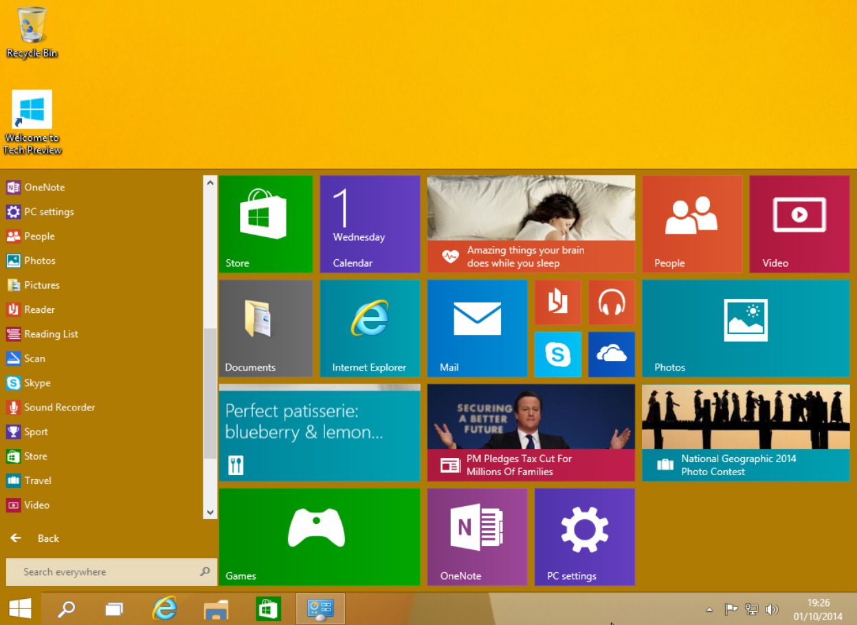 Start menu yellow