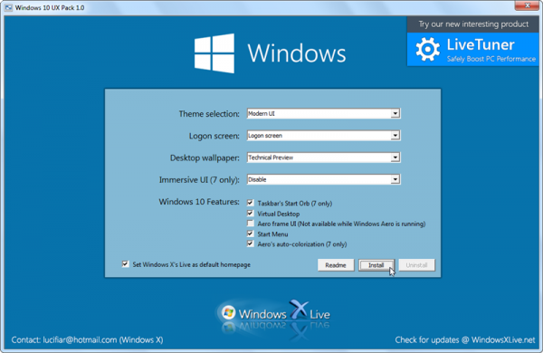 Want the windows 10 look install the windows 10 ux pack or windows 10