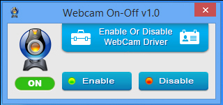 webcam on off