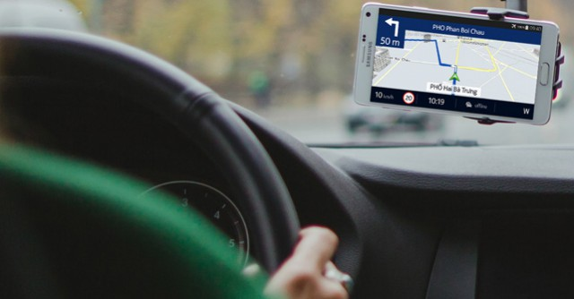 Nokia's HERE seen on a Samsung Galaxy Note 4 in a BMW car