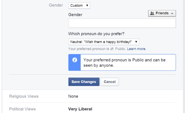 Facebook gender identity options