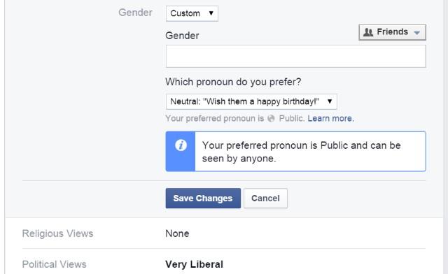Facebook gender identity options