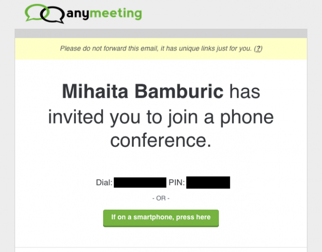 AnyMeeting Conference Call Invite