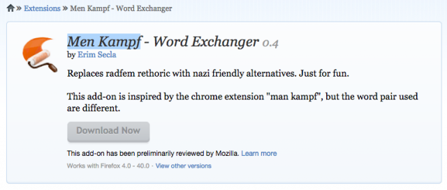 Mozilla Men Kampf Firefox extension