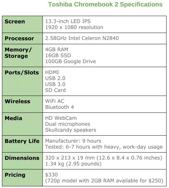 Toshiba Chromebook 2 specs