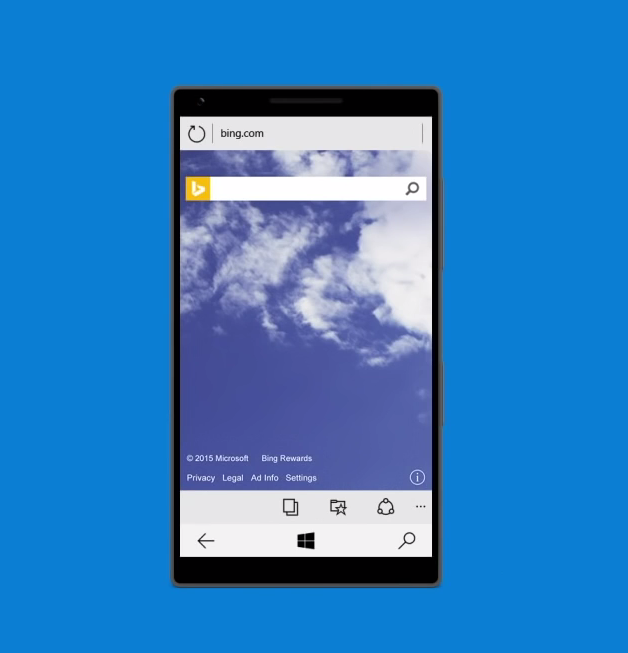 Windows 10 Mobile for Phones Technical Preview Bing