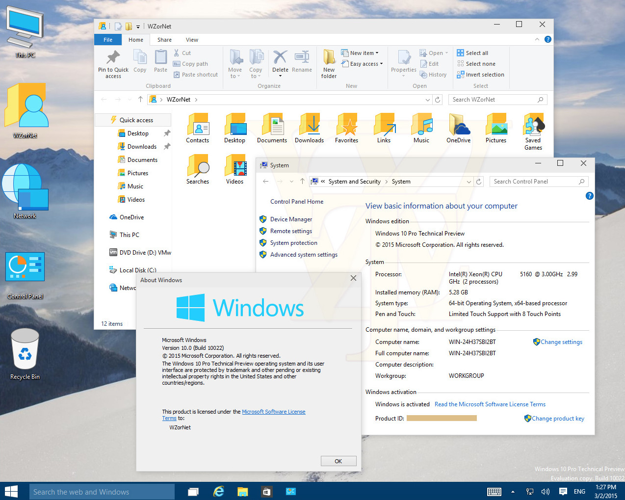More screenshots of Windows 10 build 10022 leak on to the web
