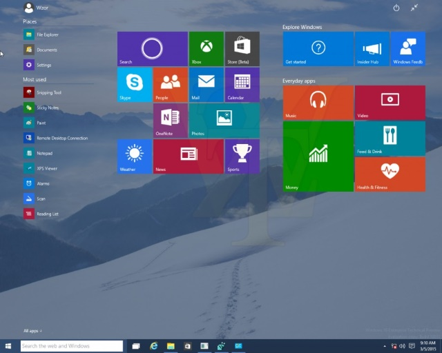 Windows 10 Build 10031 leak shows smaller Start button plus transparency