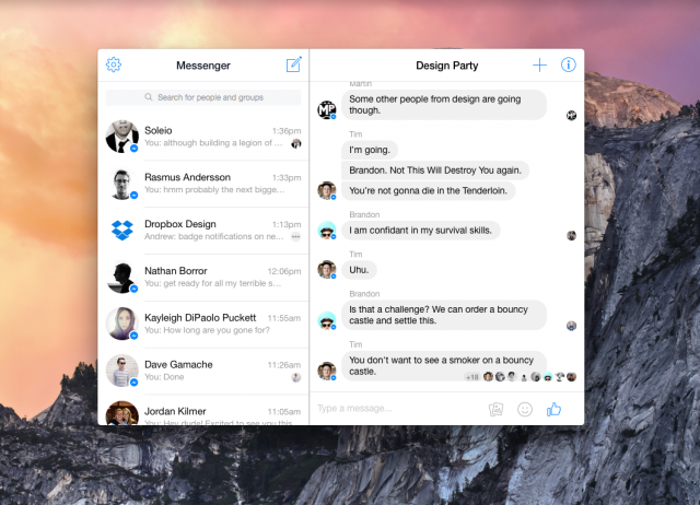 Messenger for Desktop - Mac OS X screenshot