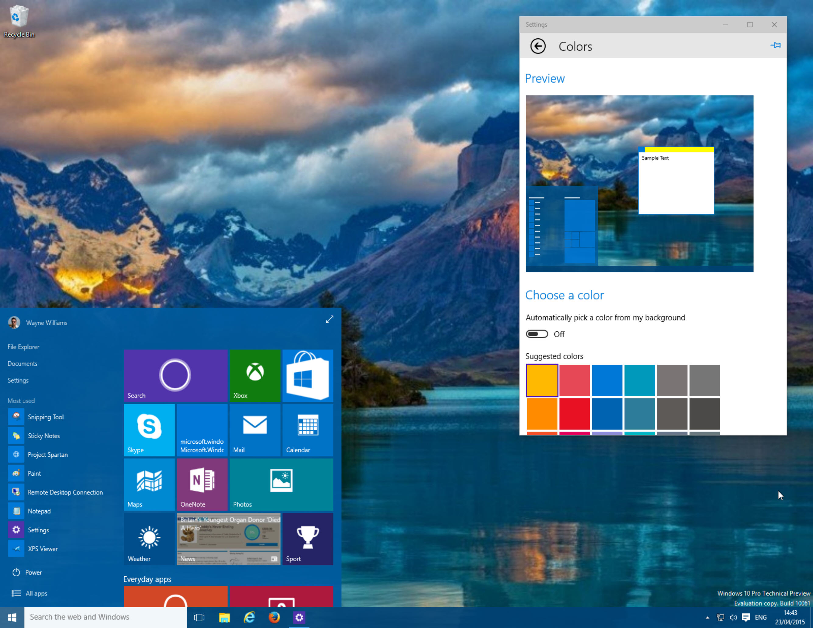 Start menu customization