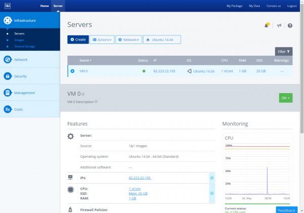 1&1 Cloud Server control panel