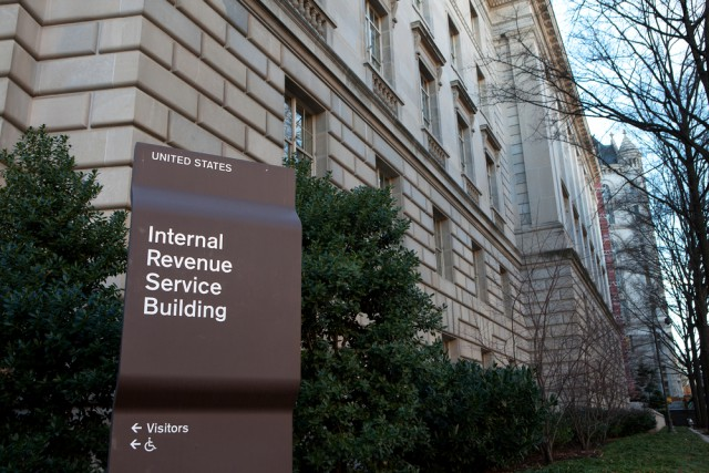 Sign outside the Internal Revenue Service (IRS) building in Washington DC