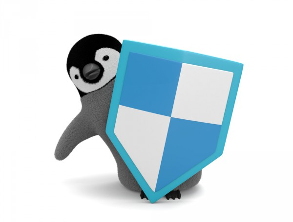 Penguin with shield