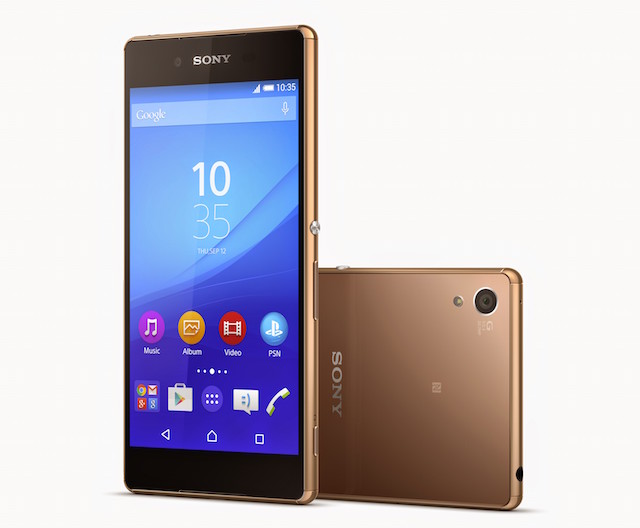 Sony Xperia Z3+ flagship 2015 shown in Copper Gold