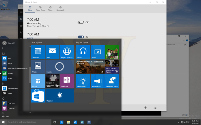 Windows 10 Build 10125 Leak Start screenshot with Alarms app background