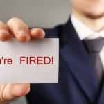 Boss firing employee message card