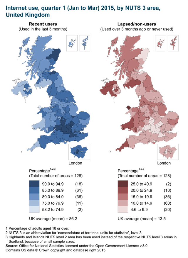 ONS Map of UK Internet use