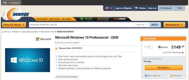 Pre-order Windows 10 Professional OEM for $149.99