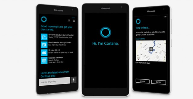 Cortana shown on Microsoft Lumia 535 Windows Phone