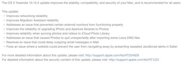 OS X 10.10.4 Yosemite changelog