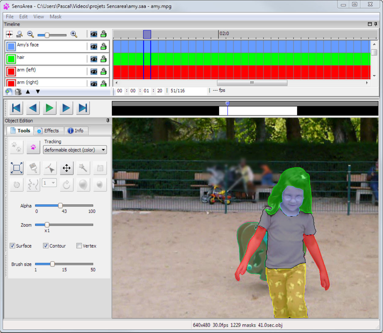 Track edit video objects with sensarea ccuart Images
