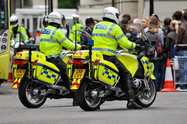 Two London Police officers riding their BMW pursuit bikes/motorcycles