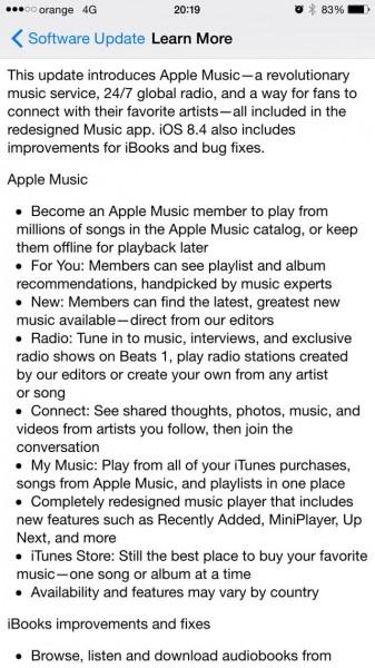 iOS 8.4 changelog - 1