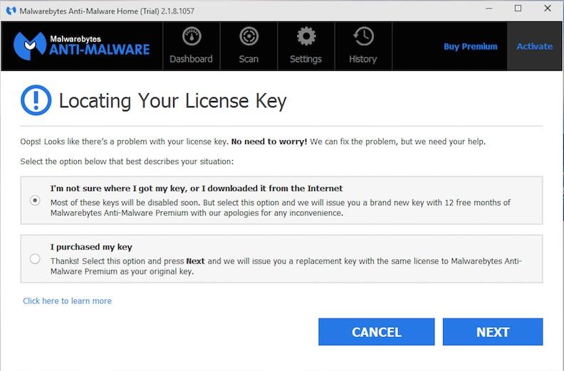 install malwarebytes with key