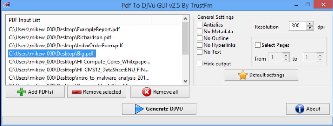 PDF to DjVu GUI