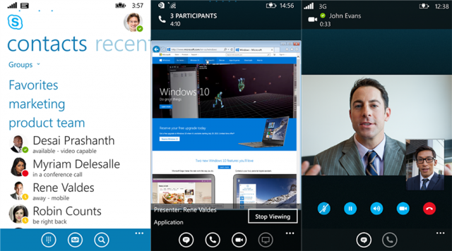 Skype for Business debuts on Windows Phone