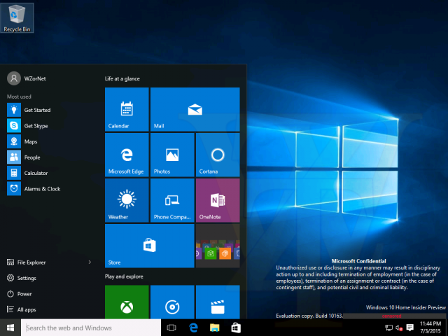 Windows 10 build 10163 Start menu leaked screenshots