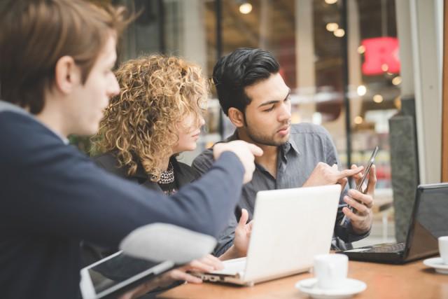 Startup individuals talking