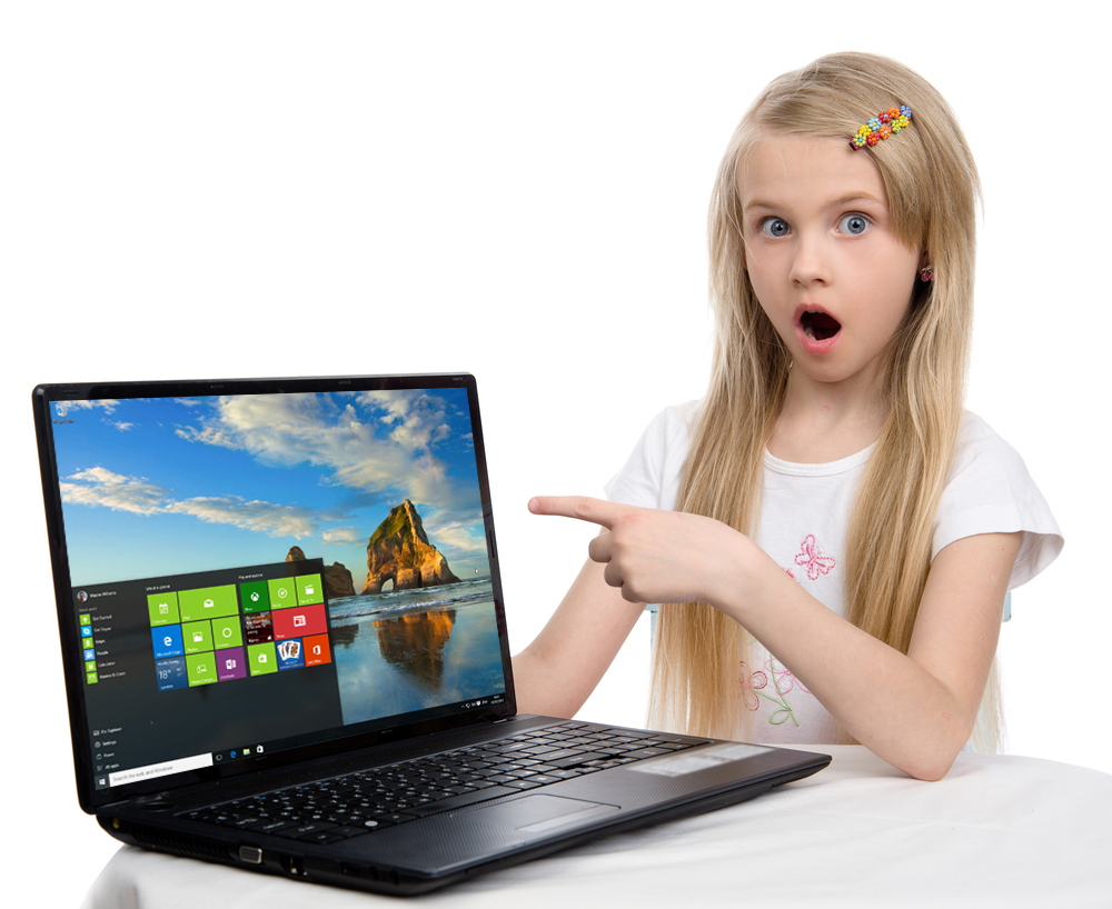 Surprised girl with Windows 10