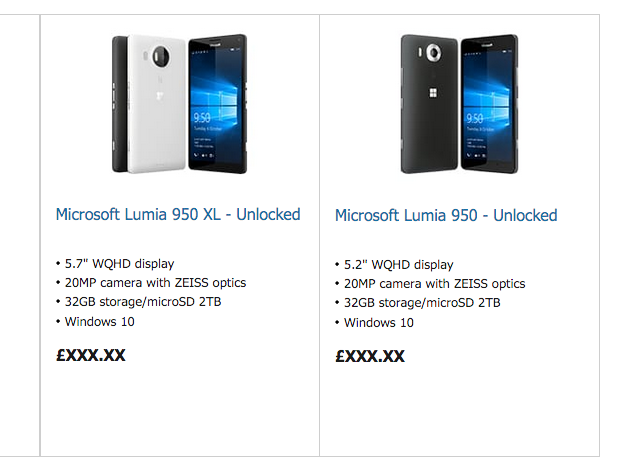 Microsoft Lumia 950 XL Store UK