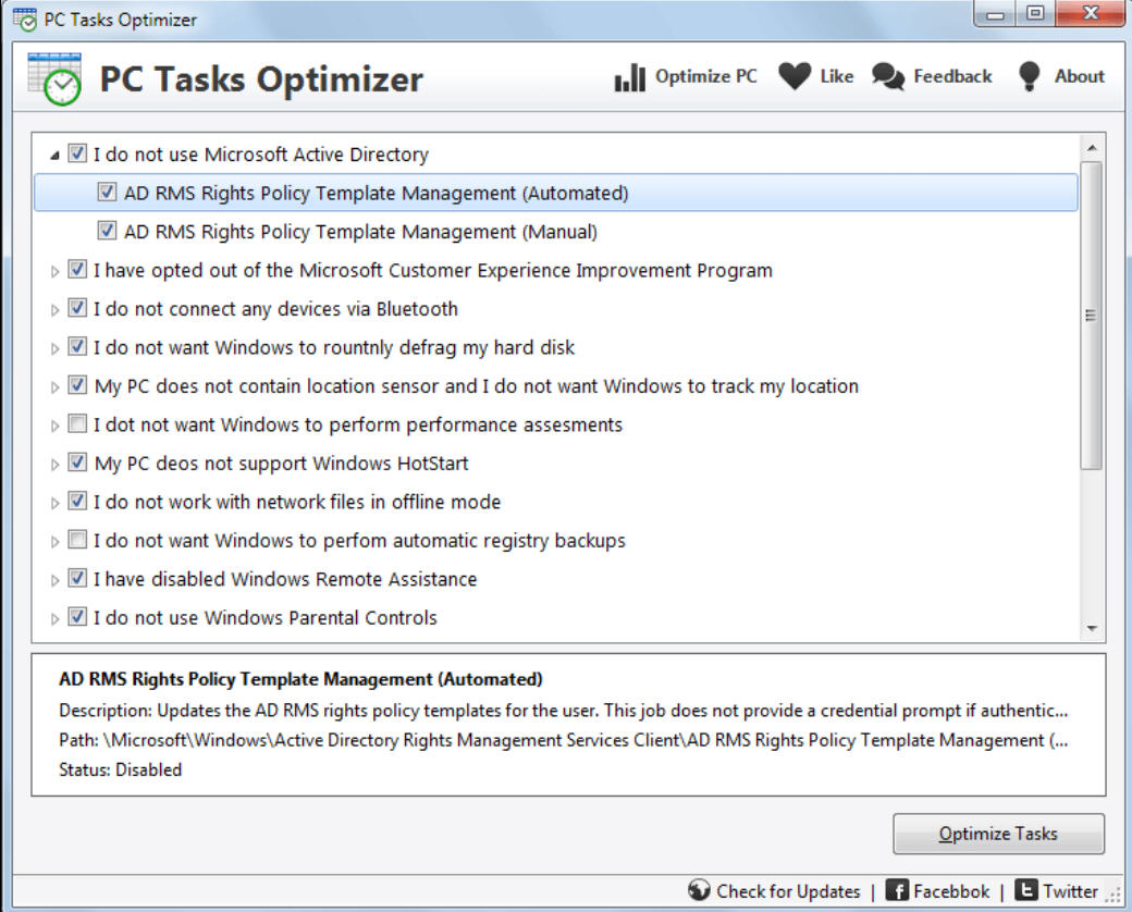 easily tweak scheduled tasks with pc tasks optimizer