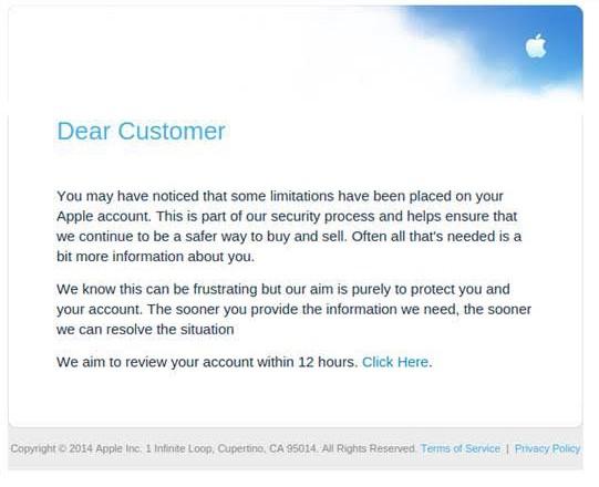 Apple phishing screen grab
