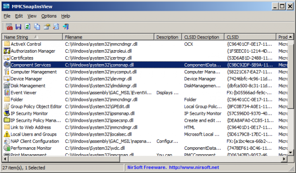 NirSoft releases MMCSnapInsView 1.0