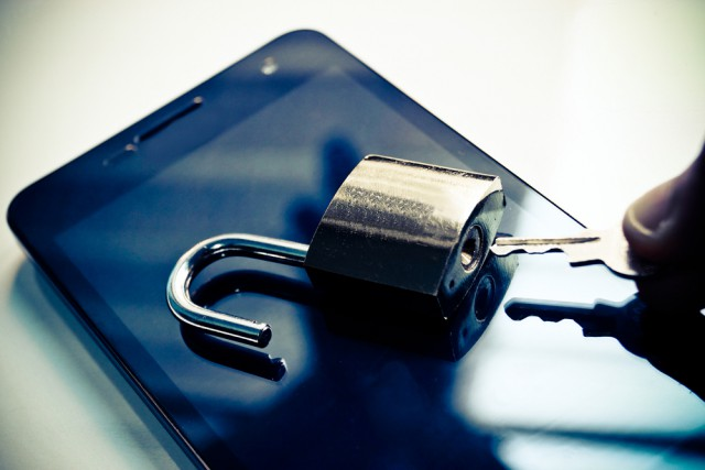 Smartphone lock unlocked key