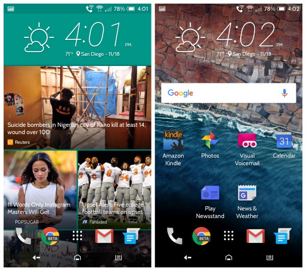 HTC One A9 Home Screens
