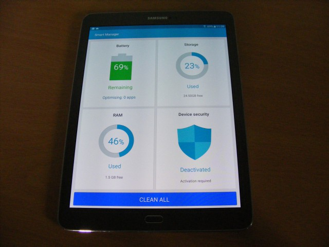 Samsung Galaxy Tab S2 smart manager