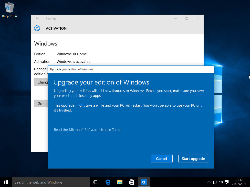 Upgrade from windows 10 home to pro using this product key for Microsoft win10