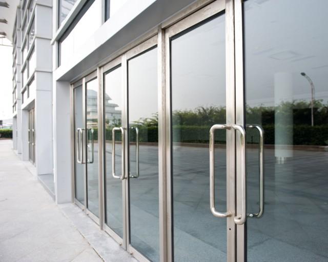 Glass doors office building