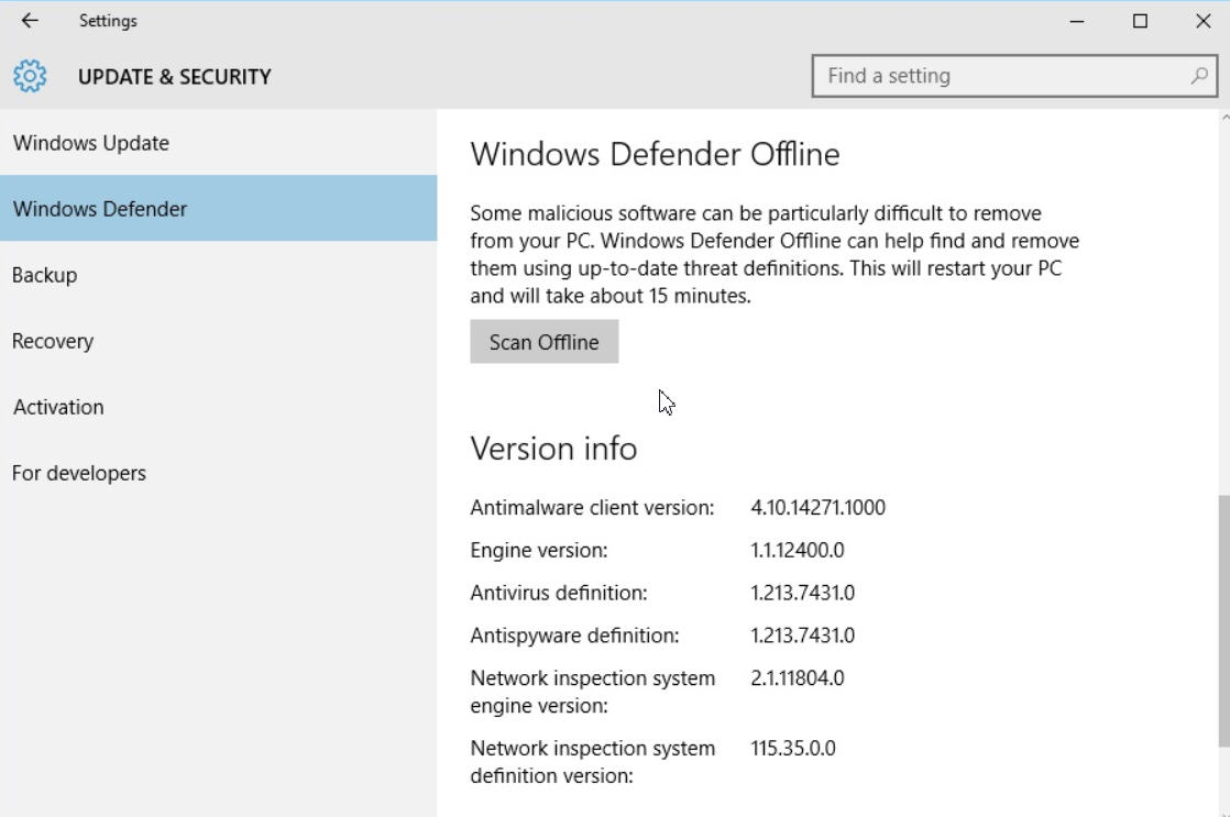 Windows defender offline win10