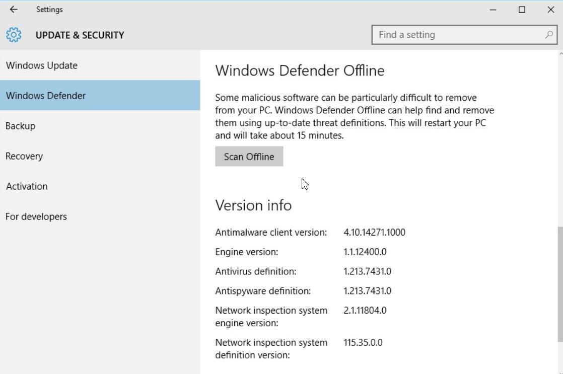 Windows defender offline win10